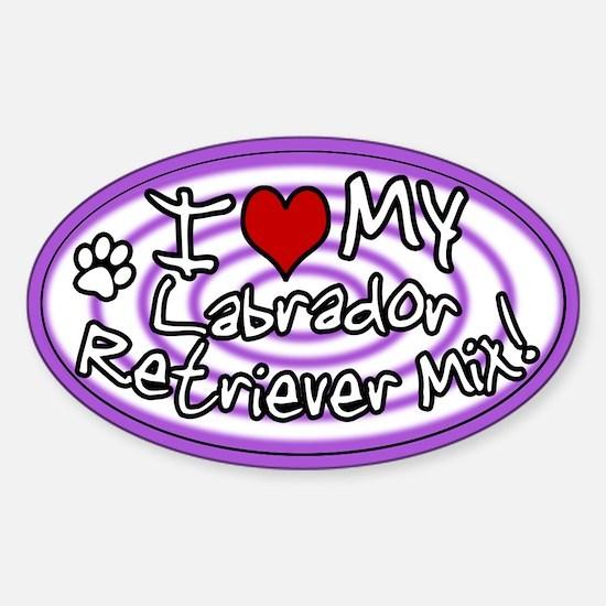 Hypno I Love My Lab Mix Oval Sticker Purp