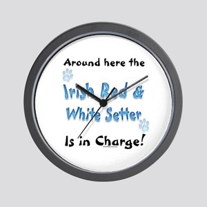 Red & White Charge Wall Clock