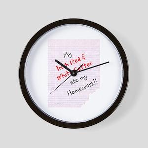 Red & White Homework Wall Clock