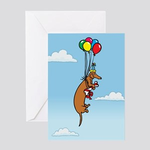 Balloon Dachshund Birthday Greeting Card