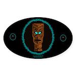 Tiki Blue Eyes Oval Sticker (50 pk)