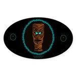 Tiki Blue Eyes Oval Sticker (10 pk)