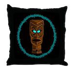 Tiki Blue Eyes Throw Pillow