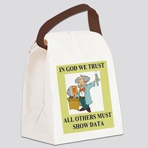 god and science joke gifts t-shirts Canvas Lunch B