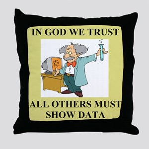 god and science joke gifts t-shirts Throw Pillow