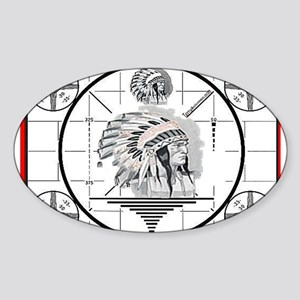 TV Test Pattern Indian Chief Oval Sticker