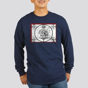 TV Test Pattern Indian Chief Long Sleeve Dark T-Sh