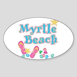 Myrtle Beach Flip-Flops - Oval Sticker