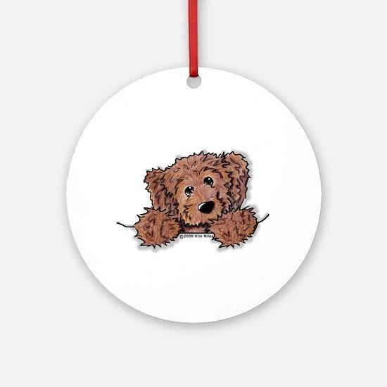 Choc. Doodle Pocket Pup Ornament (Round)