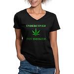 Undercover Pot Smoker Women's V-Neck Dark T-Shirt