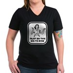 Must Be This Big To Ride Women's V-Neck Dark T-Shi