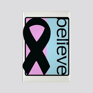 Pink and Blue (Believe) Ribbon Rectangle Magnet