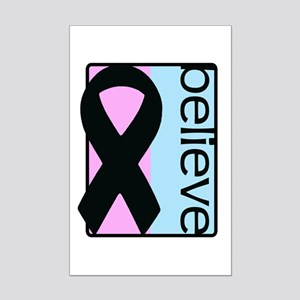 Pink and Blue (Believe) Ribbon Mini Poster Print