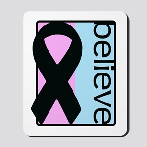 Pink and Blue (Believe) Ribbon Mousepad