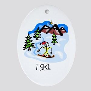 I Ski Stick Figure Ceramic Ornament