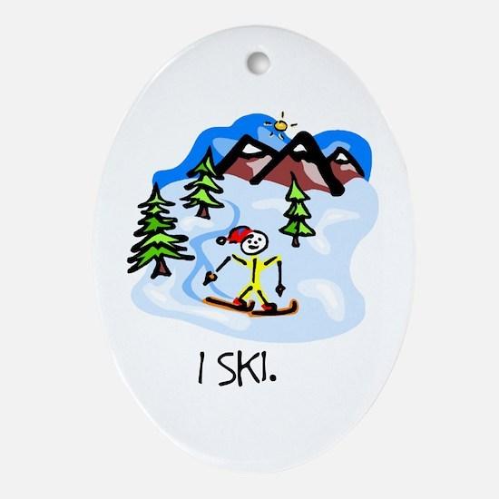 I Ski Stick Figure Ceramic Ornament
