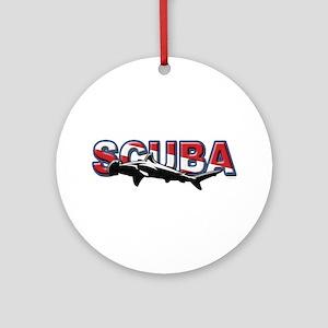 SCUBA Hamerhead Shark Ornament (Round)