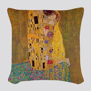 The Kiss by Klimt Woven Throw Pillow