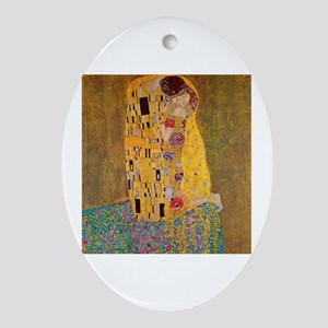 The Kiss by Klimt Oval Ornament