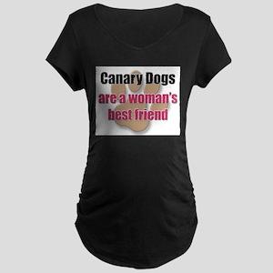 Canary Dogs woman's best friend Maternity Dark T-S