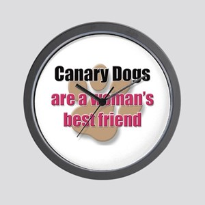 Canary Dogs woman's best friend Wall Clock