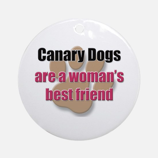 Canary Dogs woman's best friend Ornament (Round)