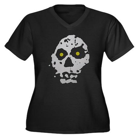 Spooky skull Women's Plus Size V-Neck Dark T-Shirt