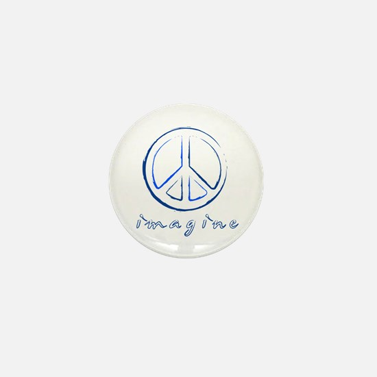 Imagine - Peace Symbol - Blue Mini Button