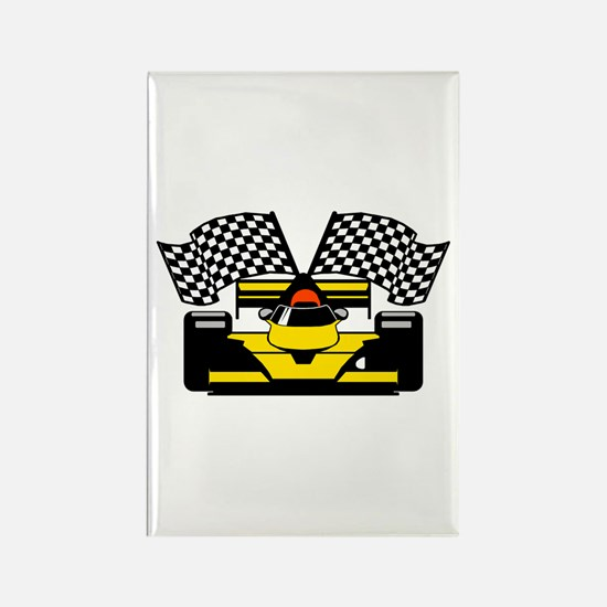 YELLOW RACECAR Rectangle Magnet (100 pack)
