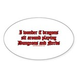 Dragons Play Dungeons And Ner Oval Sticker (10 pk)