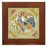 Country Rooster Framed Tile