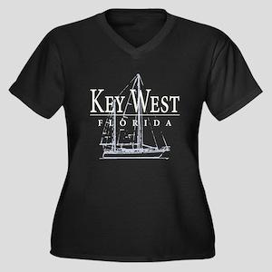 Key West Sailboat - Women's Plus Size V-Neck Dark