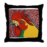 Bright Rooster Throw Pillow