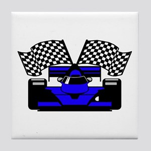 ROYAL BLUE RACE CAR Tile Coaster