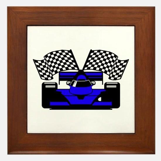 ROYAL BLUE RACE CAR Framed Tile