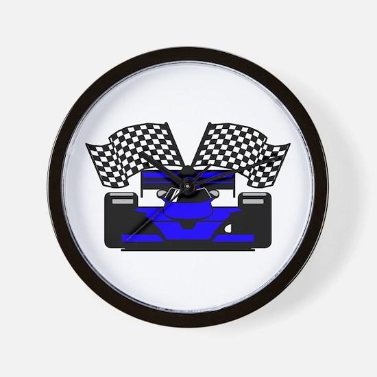 ROYAL BLUE RACE CAR Wall Clock
