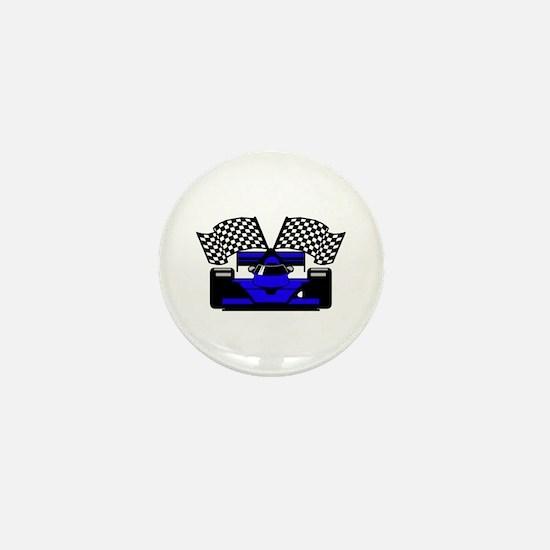 ROYAL BLUE RACE CAR Mini Button
