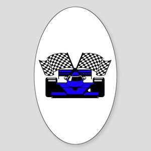 ROYAL BLUE RACE CAR Oval Sticker