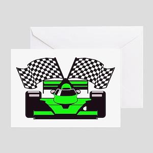 LIME GREEN RACE CAR Greeting Card