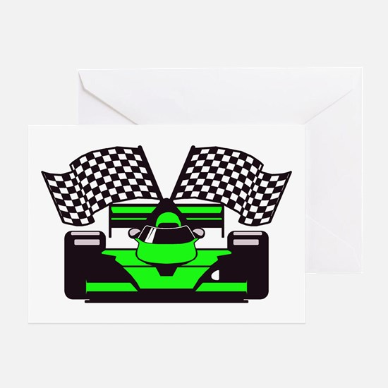 LIME GREEN RACE CAR Greeting Card