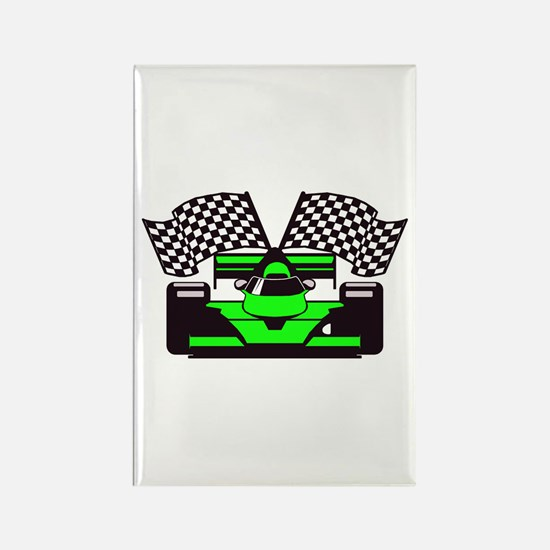 LIME GREEN RACE CAR Rectangle Magnet (100 pack)