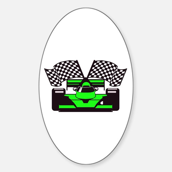 LIME GREEN RACE CAR Oval Decal