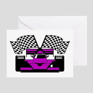 PURPLE RACE CAR Greeting Card