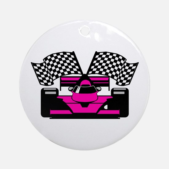 HOT PINK RACE CAR Ornament (Round)