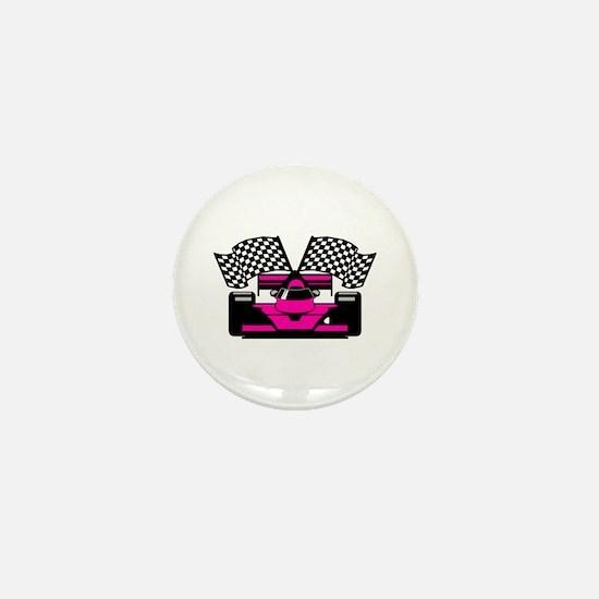 HOT PINK RACE CAR Mini Button