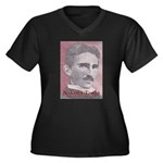 Tesla-1 Women's Plus Size V-Neck Dark T-Shirt