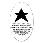 When I Call You A Star Oval Sticker (50 pk)