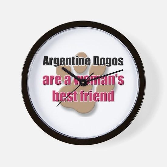 Argentine Dogos woman's best friend Wall Clock