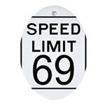 Speed Limit 69 Oval Ornament