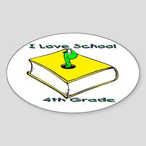 Bookworm 4th Grade Oval Sticker